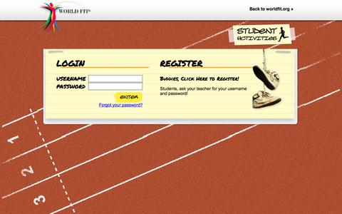 Screenshot of Login Page worldfit.org - WorldFit | Student Activities - captured Oct. 26, 2014