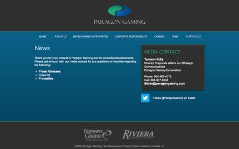 Screenshot of Press Page paragongaming.com - News   Paragon Gaming - captured Sept. 30, 2014