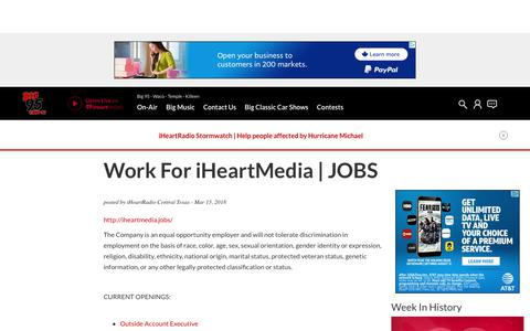 Screenshot of Jobs Page iheart.com - Work For iHeartMedia | JOBS | Big 95 - captured Oct. 26, 2018