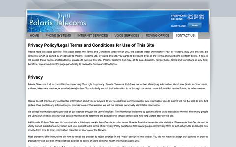 Screenshot of Privacy Page polaristelecoms.co.uk - Polaris Telecoms Ltd. - Privacy Policy - captured Sept. 30, 2014