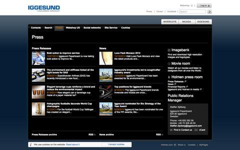 Screenshot of Press Page iggesund.com - Press - Iggesund - captured Nov. 2, 2014
