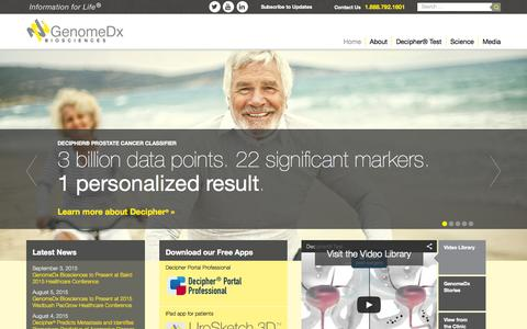 Screenshot of Home Page genomedx.com - GenomeDx: Informing Decisions for Prostate Cancer Treatment - captured Sept. 20, 2015