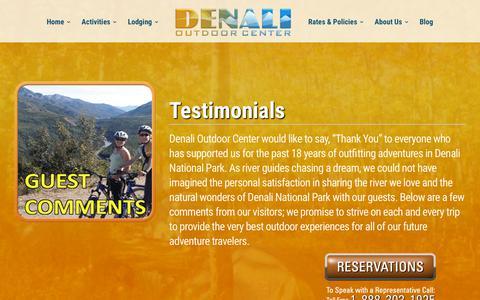 Screenshot of Testimonials Page denalioutdoorcenter.com - Visiting Denali National Park? Guest Comments & Reviews | Denali Outdoor Center - captured Aug. 6, 2018