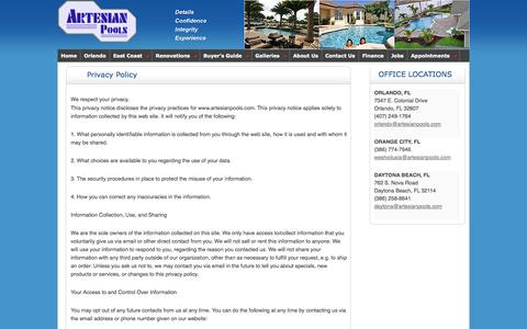 Screenshot of Privacy Page artesianpools.com - Privacy Policy | Orlando In-ground Swimming Pool Builders - captured Sept. 30, 2014