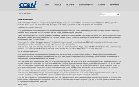 Screenshot of Privacy Page cc-n.com - Avaya IP Office, Structured Cabling & Network Performance Services - captured Sept. 26, 2014