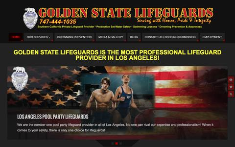 Screenshot of Home Page goldenstatelifeguards.com - Golden State Lifeguards | Los Angeles Pool Party Lifeguards - captured July 21, 2018