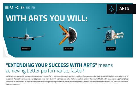 Screenshot of Home Page arts.aero - Start page | ARTS Holding SE - captured Nov. 19, 2016