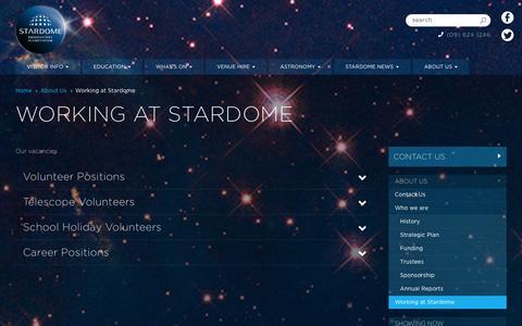 Screenshot of Jobs Page stardome.org.nz - Working at Stardome | Stardome Observatory & Planetarium - Auckland, New Zealand - captured Oct. 7, 2014