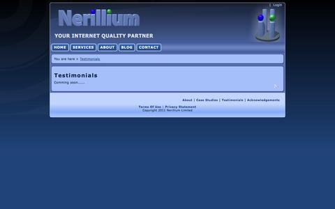 Screenshot of Testimonials Page nerillium.com - Nerillium > Testimonials - captured Sept. 30, 2014