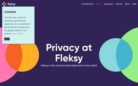 Screenshot of Privacy Page fleksy.com - Privacy is extremely important at Fleksy, the most private keyboard - captured May 15, 2018