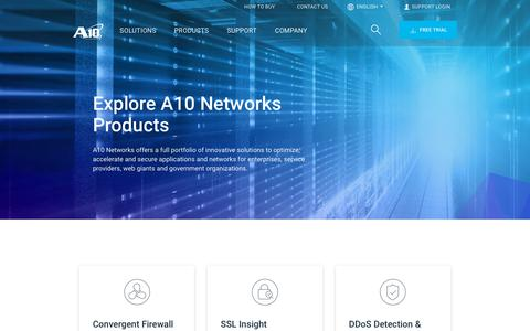 Screenshot of Products Page a10networks.com - Products - Network Security, 5G, Cloud Applications, DDoS | A10 Networks - captured May 22, 2019
