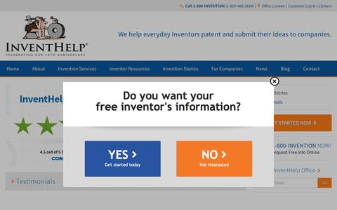 Screenshot of Testimonials Page inventhelp.com - InventHelp Client Testimonials and Invention Stories - captured Aug. 6, 2016