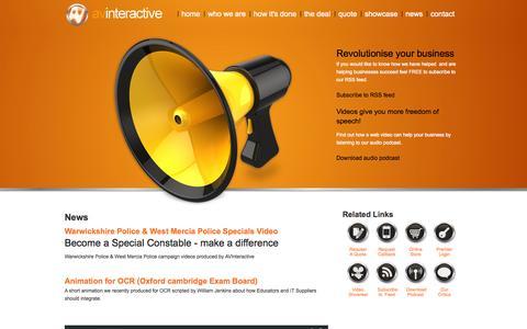 Screenshot of Blog Press Page avi.co.uk - News | Video Production Warwickshire | AV Interactive - captured Oct. 23, 2014