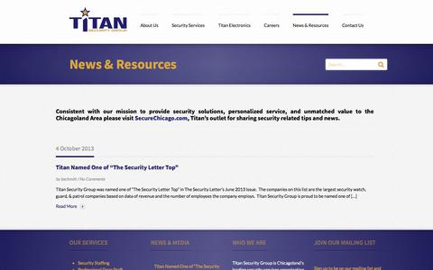 Screenshot of Press Page titan-security.com - News & Resources | Titan Security - captured Nov. 5, 2017