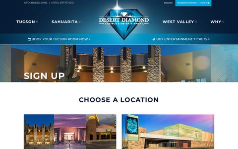 Screenshot of Signup Page ddcaz.com - Desert Diamond Casinos & Entertainment | Sign Up - captured Oct. 8, 2018