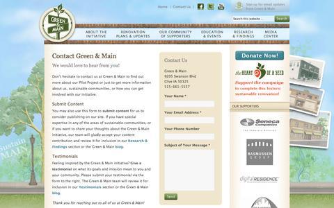 Screenshot of Contact Page greenandmain.org - Contact Green & Main — Green & Main - captured Nov. 26, 2016