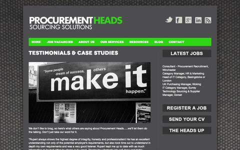 Screenshot of Testimonials Page procurementheads.com - Testimonials & Case Studies | Procurement Heads - captured Sept. 30, 2014
