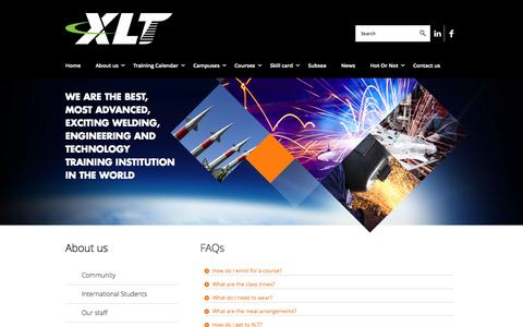 Screenshot of FAQ Page xlt.com.au - XLT - Institute of Welding, Engineering & Technology - captured Oct. 3, 2014