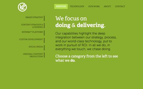 Screenshot of Services Page vlgroup.com - Brand Strategy, Digital Media Delivery & Music Streaming, Content Licensing and Strategy, Social Media, and More » VL Group, an Integrated Digital Media Agency - captured Oct. 26, 2014