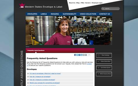 Screenshot of FAQ Page wsel.com - FAQs | Western States Envelope & Label - captured Oct. 9, 2014
