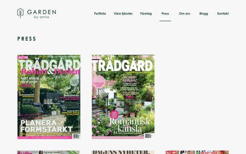 Screenshot of Press Page gardenbyanna.se - Press – Garden by Anna - captured July 16, 2018