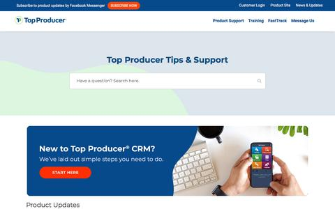 Screenshot of Support Page topproducer.com - Top Producer Support (Campus) – Support, Help, and Training for Top Producer products - captured Nov. 10, 2019