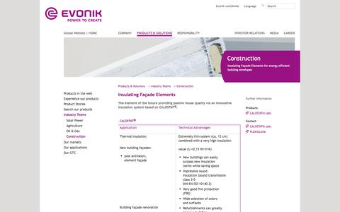 Insulating Facade Elements - Construction Industry - Evonik Industries - Specialty Chemicals