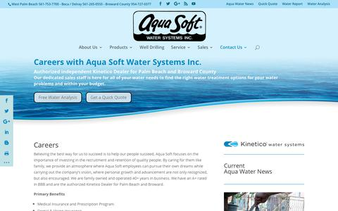 Screenshot of Jobs Page aquasoftpalmbeach.com - Careers | Aqua Soft Water Systems - captured Oct. 8, 2017