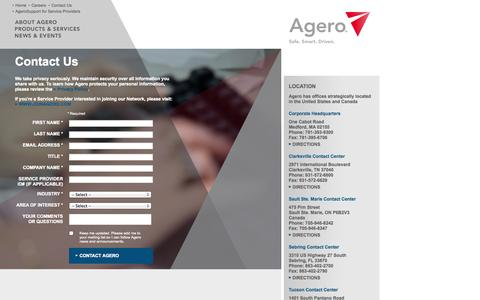 Screenshot of Contact Page agero.com - Contact Us | Agero - captured Sept. 19, 2014