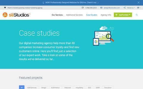 Screenshot of Case Studies Page slistudios.com - Section: Case Studies | SLI Studios - captured Nov. 2, 2014
