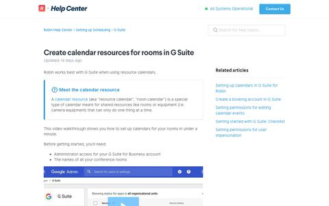 Screenshot of Support Page robinpowered.com - Create calendar resources for rooms in G Suite – Robin Help Center - captured Jan. 22, 2019