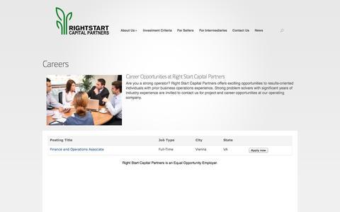 Screenshot of Jobs Page rightstartcapital.com - Careers | Right Start Capital Partners - captured Oct. 7, 2014