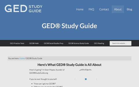 Screenshot of About Page gedstudyguide.org - GED® Study Guide - GED Study Guide 2014: FREE Practice Tests & Video Courses - captured Oct. 1, 2014