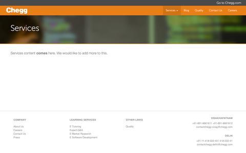 Screenshot of Services Page cheggindia.com - Services - Chegg India - captured Nov. 3, 2018