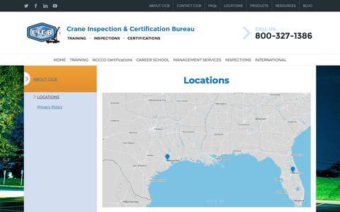 Screenshot of Locations Page cicb.com - LOCATIONS - CICB - captured Dec. 7, 2018