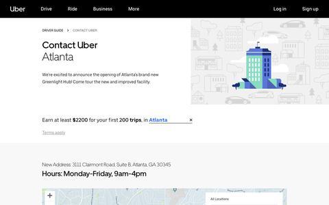 Screenshot of Contact Page uber.com - Greenlight Hubs in Atlanta   Uber - captured Nov. 21, 2018