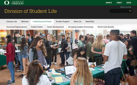 Screenshot of Team Page uoregon.edu - Leadership and Career | Division of Student Life - captured Sept. 21, 2018