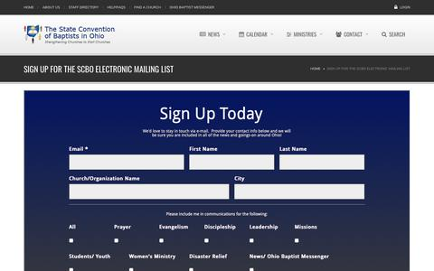 Screenshot of Signup Page scbo.org - Sign Up for the SCBO Electronic Mailing List | scbo.org - captured Oct. 30, 2018