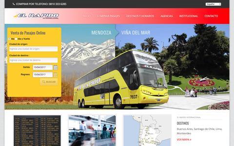 Screenshot of Home Page elrapidoint.com.ar - Pasajes de Ómnibus > El Rápido Internacional > pasajes de Micro - captured April 10, 2017