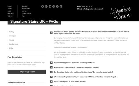 Screenshot of FAQ Page signaturestairs.co.uk - Staircase Regulations UK – Building Regulations for Stairs | Stairs Regulations - Signature Stairs UK - captured Aug. 15, 2016