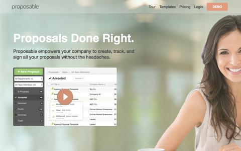 Screenshot of Home Page proposable.com - Proposable |Proposal Software - captured Dec. 15, 2017