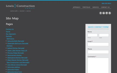 Screenshot of Site Map Page lewiscg.com - Lewis Construction Group, LLC - New Construction, Kitchen Remodels & Bathroom Remodels - Site Map - captured Nov. 7, 2016