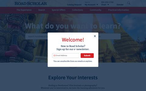 Screenshot of Home Page roadscholar.org - Educational Travel for Adults | Road Scholar - captured Oct. 10, 2018