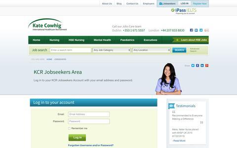 Screenshot of Login Page kcr.ie - Jobseeker Login : Kate Cowhig International Healthcare Recruitment - captured Oct. 17, 2017