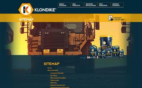 Screenshot of Site Map Page klondikelubricants.com - Sitemap   Industrial Lubricants, Oils & More   KLONDIKE - captured Oct. 6, 2014