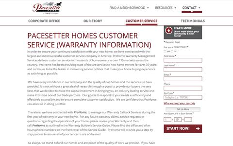 Screenshot of Support Page pacesetterhomestexas.com - Pacesetter Homes Customer Service - captured July 11, 2017
