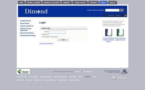 Screenshot of Login Page dimond.co.nz - Login  -  Contact Us - Dimond - captured April 15, 2016