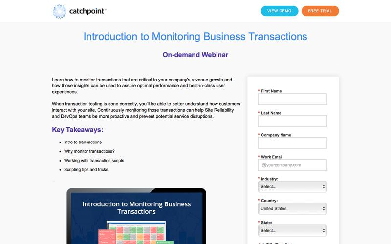 Catchpoint   Introduction to Monitoring Business Transactions