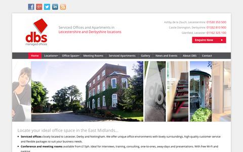 Screenshot of Home Page dbs-centres.co.uk - Office Space East Midlands   DBS Managed Offices to Rent - captured Oct. 9, 2018