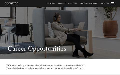 Screenshot of Jobs Page convene.com - (2) New Messages! - captured Oct. 7, 2018
